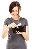 Young beautiful woman holding a wallet Stock Photos