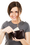 Young beautiful woman holding a wallet Royalty Free Stock Image