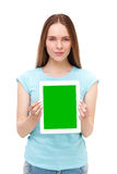 Young beautiful woman holding white tablet with copyspace Stock Photography