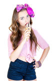 Young beautiful woman with ice cream Royalty Free Stock Photos