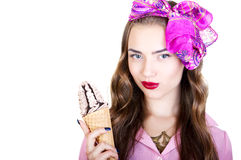 Young beautiful woman with ice cream. On a white background Royalty Free Stock Images