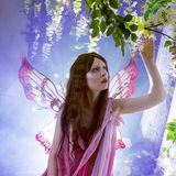 Young beautiful woman in the image of fairies, magic dark forest Stock Photo