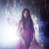 Young beautiful woman in the image of fairies, magic dark forest Royalty Free Stock Photos