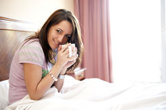 Young Beautiful Woman In Bed Royalty Free Stock Photography