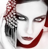 Young Beautiful Woman In Black With Gothic Fashion Makeup , Posi Stock Images