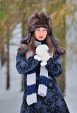 Young Beautiful Woman In Winter Time Royalty Free Stock Photography
