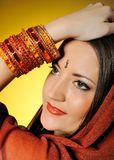 Young beautiful woman in indian traditional style Stock Image