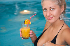 Young beautiful woman in jacuzzi Stock Image
