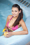 Young beautiful woman in jacuzzi Royalty Free Stock Photography