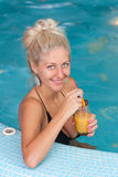 Young beautiful woman in jacuzzi Royalty Free Stock Image