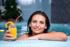 Young beautiful woman in jacuzzi Royalty Free Stock Photo