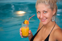 Young beautiful woman in jacuzzi Stock Photo