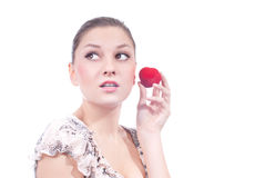 Young beautiful woman and jewelry presenting gift Stock Image