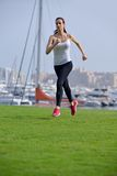 Young beautiful  woman jogging  on morning Royalty Free Stock Photography