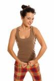 Young beautiful woman joke strongest isolated Stock Photos