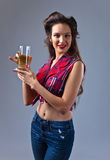 Young beautiful woman with juice Royalty Free Stock Photos