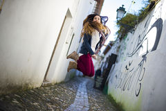 Young beautiful woman jumping Stock Photography