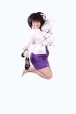 Young beautiful  woman jumping in joy with plush r Royalty Free Stock Photos