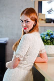 Young beautiful woman in knitted dress Royalty Free Stock Photos