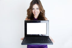 Young beautiful woman with laptop Stock Photography