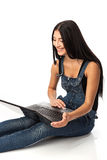 Young beautiful woman with a laptop Stock Images