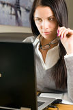 Young beautiful woman with laptop Royalty Free Stock Photos