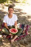 Beautiful woman eat waretmelon royalty free stock photo