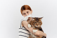 Young beautiful woman on a light background holds a cat, an allergy to pets Royalty Free Stock Photo