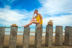 Pretty woman on beach stock images