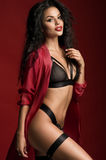 Young beautiful woman in lingerie. On the red background Royalty Free Stock Photography