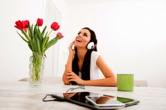 Young beautiful woman listening to music Stock Photography