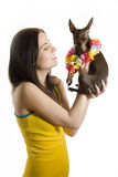 Young beautiful woman with little toy terrier dog. Young pretty beautiful woman holding little toy terrier dog. isolated on white background Royalty Free Stock Photos