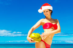 Young beautiful woman with long black hair in red bikini, and re Royalty Free Stock Photo