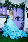 Young beautiful woman with long blond hair in elegant dark blue dress posing at floral background Stock Image