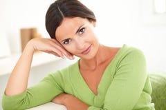 Young beautiful woman looking at camera Stock Photo