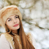 Young beautiful woman looking at copy space - close up Royalty Free Stock Photos