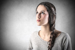 Young beautiful woman looking at the top Stock Photos
