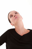 Young beautiful woman looking up. With copyspace Royalty Free Stock Image