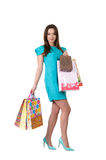Young beautiful woman looks beautiful and bought a lot of things Royalty Free Stock Photo