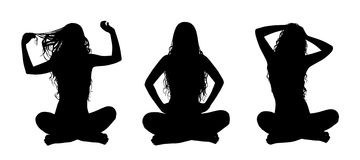 Young beautiful woman in lotus posture silhouettes set Stock Image