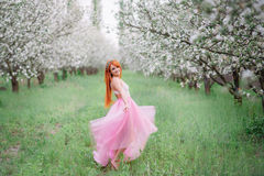 Young beautiful woman in the lush garden. Young beautiful woman in the lush spring garden Royalty Free Stock Photography