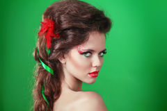Young beautiful woman with make up Stock Images