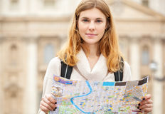 Young beautiful woman with map. Stock Image