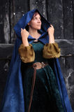 Young beautiful woman in a medieval costume. Young woman in medieval dress with a hood on her head Royalty Free Stock Photos