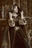 Young beautiful woman in a medieval costume Stock Photos