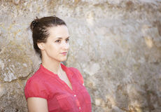 Young and beautiful woman meditate. Beautiful and expresive woman meditate Royalty Free Stock Photos