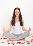 Young beautiful woman meditating in lotus pose Royalty Free Stock Photos