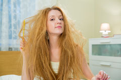 Young beautiful woman with messy hair Stock Photos