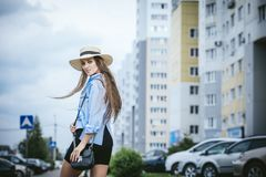 Young Beautiful Woman Model Lady Fancy Shirt And Hat With Bag On Stock Images