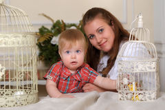 Young beautiful woman mother with her son Royalty Free Stock Images